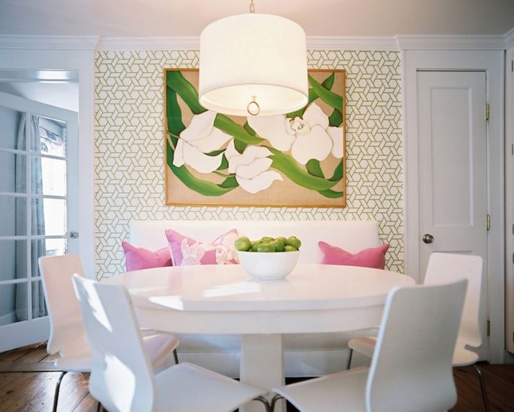 Manuel canovas trellis wallpaper contemporary dining room lonny magazine - Trend wallpaper dining ...