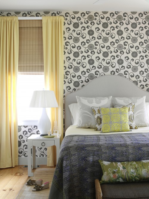 Nice Gray And Yellow Bedroom Design With White U0026 Gray Floral Wallpaper,bright Yellow  Curtains, Bamboo Roman Shades, White Bungalow 5 Jacqui Table, Gray  Headboard ...