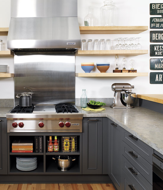 Shelves For Kitchen Cabinets: Charcoal Gray Cabinets