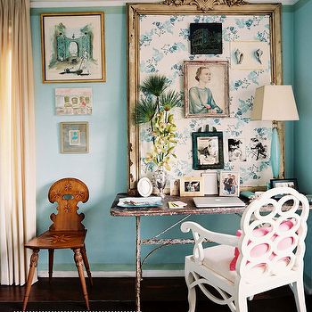 Turquoise Blue Paint Colors, Eclectic, den/library/office, Benjamin Moore Dolphins Cove, Lonny Magazine