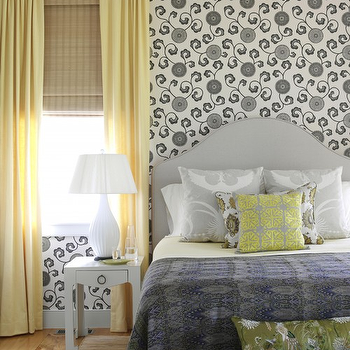 Gray and Yellow Bedroom, Cottage, bedroom, Tara Seawright