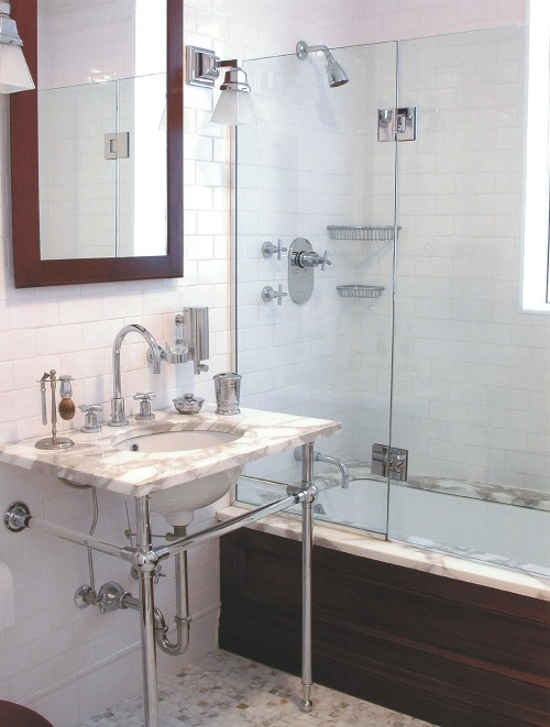 Subway Tile Shower Mirrored Bathroom Partitions Modern