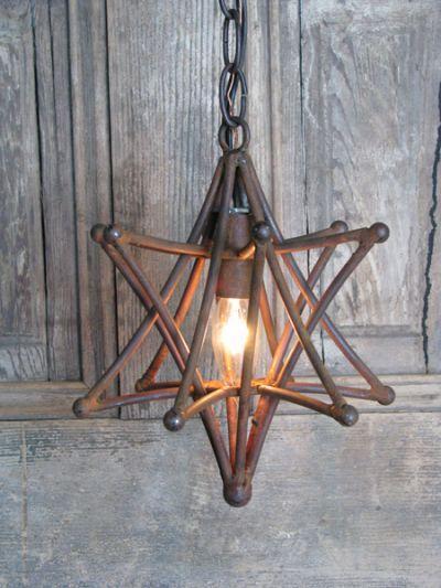 Etoile Metal Iron Pendant Star Light Fixture Rustic Finish Vintage Lighting Solaria Industrial Chic Loft Entry Way Modern