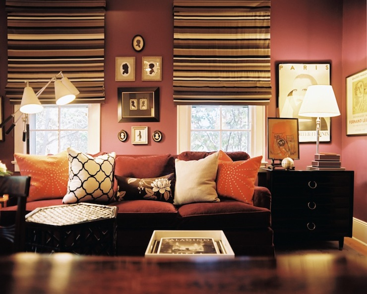 Mauve Walls Transitional Living Room Lonny Magazine