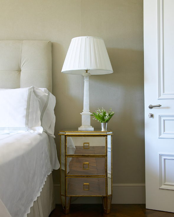 Mirror Nightstand Transitional Bedroom