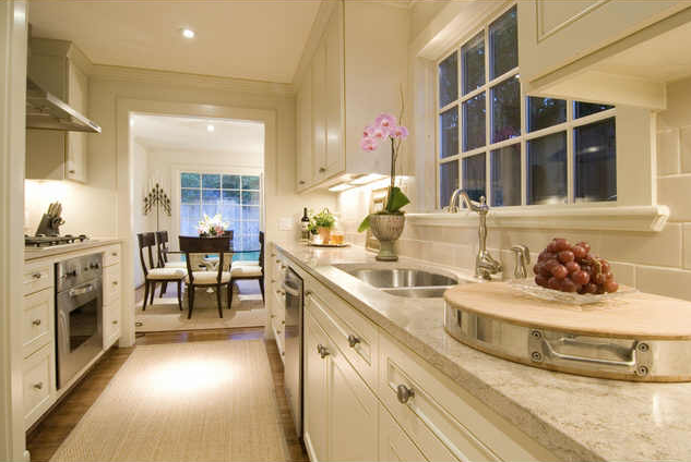 Beautiful Creamy White Galley Kitchen Design With Creamy White Kitchen  Cabinets, White Carrara Marble Countertops, Runner And Klismos Dining  Chairs. Part 47