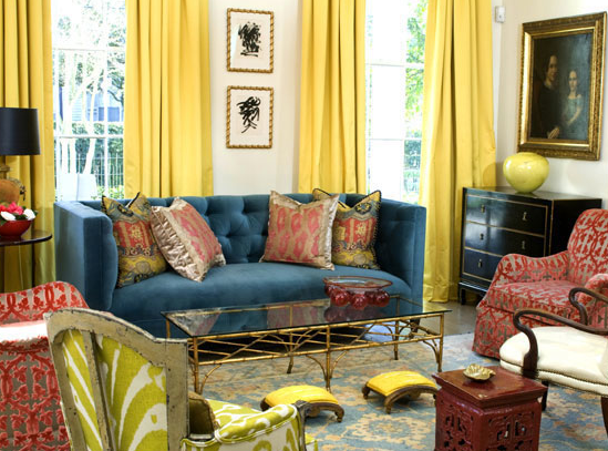 Great Yellow And Blue Living Room Design With Bright Yellow Silk Drapes, Blue  Velvet Tufted Sofa, Glossy Black Vintage Dresser Chest, Brass Cocktail  Table, ... Part 25
