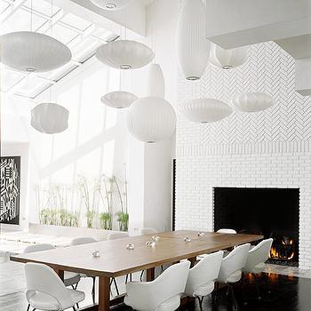 Herringbone Fireplace, Modern, dining room, Douglas Friedman