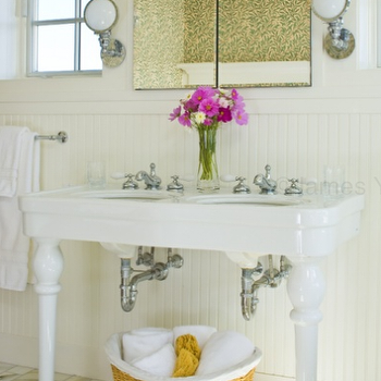 Parisian Pedestal Sink View Full Size. Cottage Beachy Bathroom Design ...