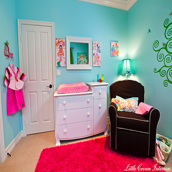 Hot Pink Rug, Contemporary, nursery, Little Crown Interiors