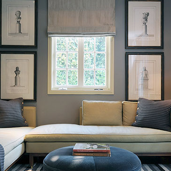 Gray Roman Shade, Contemporary, den/library/office, Kenneth Brown Design