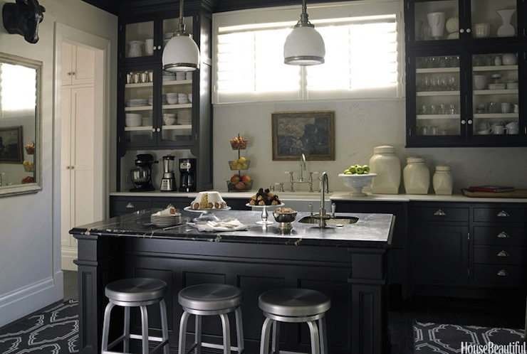 Stephen Schubel   Bold Black And White Kitchen Design With Glossy Black  Glass Front Kitchen Cabinets, Black Marble Countertops, Industrial Stools,  ...