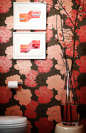Metallic wallpaper asian bathroom brown design for Floral bathroom wallpaper