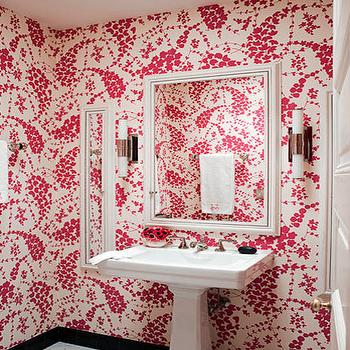 Pink Powder Room, Contemporary, bathroom, Jonathan Berger Interior Design