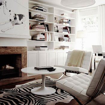 Black and White Zebra Rug, Contemporary, living room, James Tse Photography