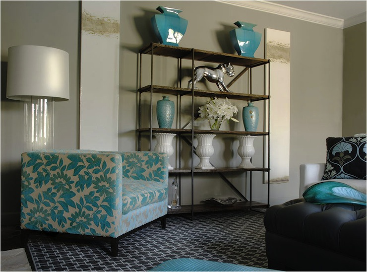 Turquoise accents contemporary living room caldwell for Turquoise and white living room ideas