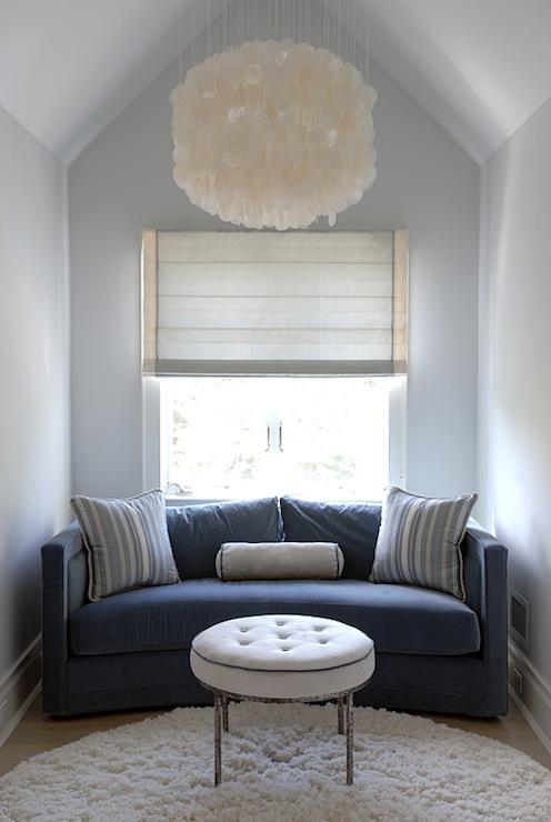 Blue Velvet Sofa Contemporary Living Room Mabley Handler