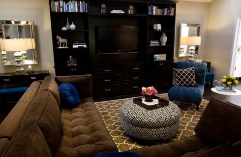 Cobalt Blue Chocolate Brown Living Room Design With Pottery Barn Moorish Tile Rug Velvet Tufted Modern Sectional Sofa