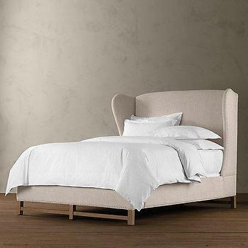 French Wing Upholstered Framed Bed, Beds, Restoration Hardware