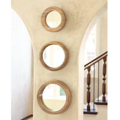 set of 3 round wood mirrors ballard designs. Black Bedroom Furniture Sets. Home Design Ideas