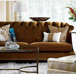 Brown Tufted Sofa, Traditional, living room