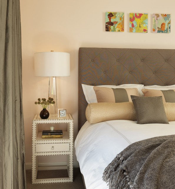 white and grey bedroom with gray cashmere throw - contemporary