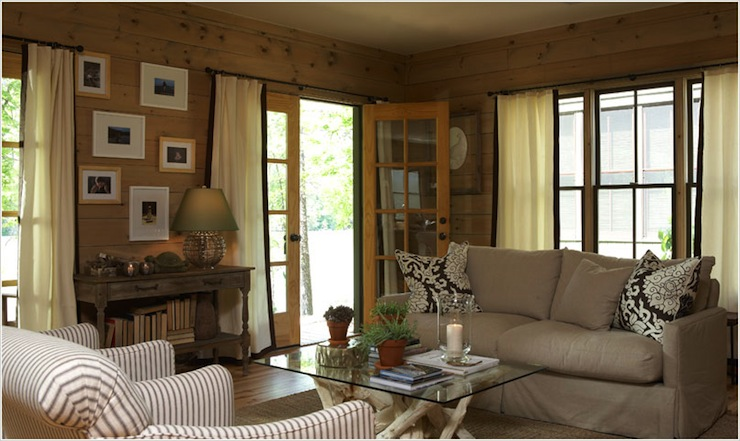 Knotty pine paneled walls country living room Curtains for wood paneled room
