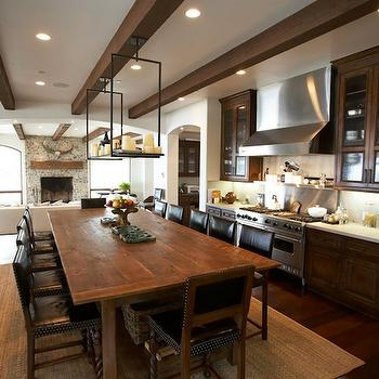 Exposed Beams Ceiling, Mediterranean, dining room, Windsor Smith Home