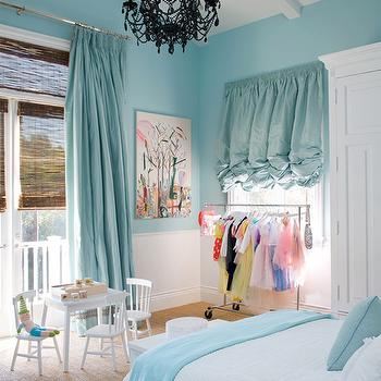 Turquoise Drapes, Contemporary, girl's room, Windsor Smith Home
