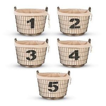 Industrial Wire Basket with Number Liners 1, 2, 3, 4 and 5