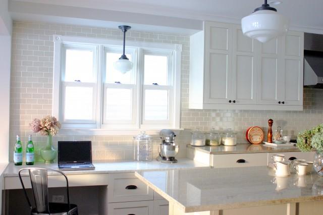 White Granite Countertops, Transitional, kitchen, KItchen Lab