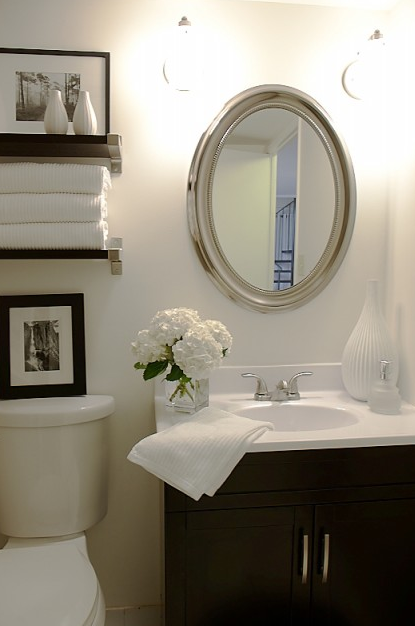 Small bathroom transitional bathroom heather garrett Mirror design for small bathroom