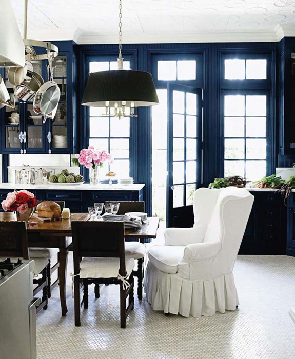 Interior design inspiration photos by windsor smith home - Black walls in dining room ...