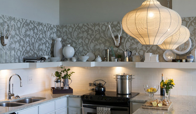 Wallpaper kitchen backsplash contemporary kitchen for Modern kitchen wallpaper ideas