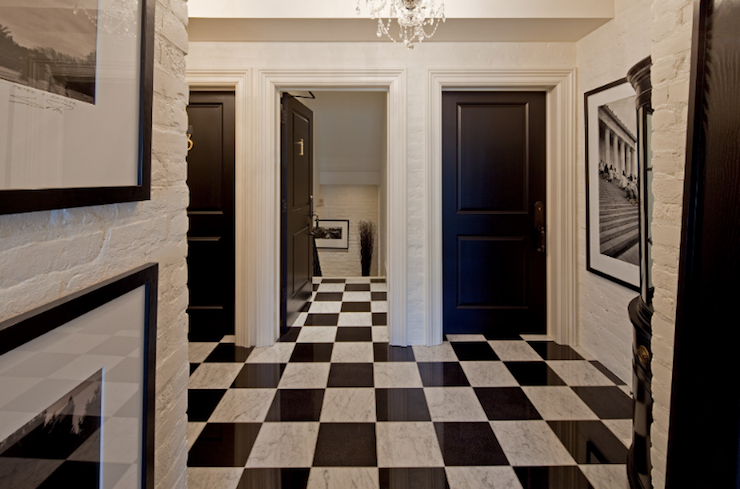 Black And White Marble Floor Transitional Entrancefoyer
