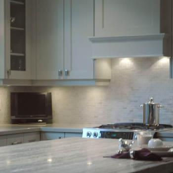 Quartzite Countertops, Transitional, kitchen, Benjamin Moore Hazy Skies, Style de Vie Design