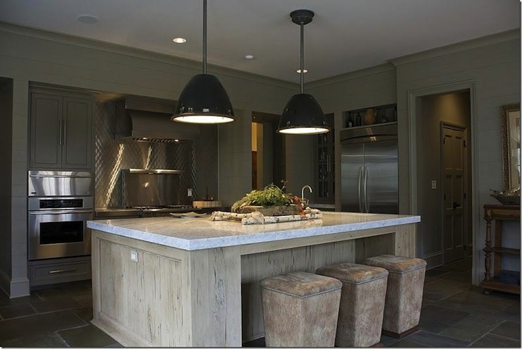 kitchen cabinets, stainless steel backsplash, limed oak kitchen island