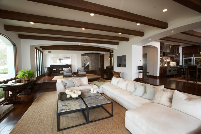 Exposed wood beams ceiling transitional living room for Exposed wood beam ceiling