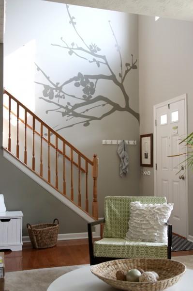 Foyer Wall Paint : Gray wall paint transitional entrance foyer valspar