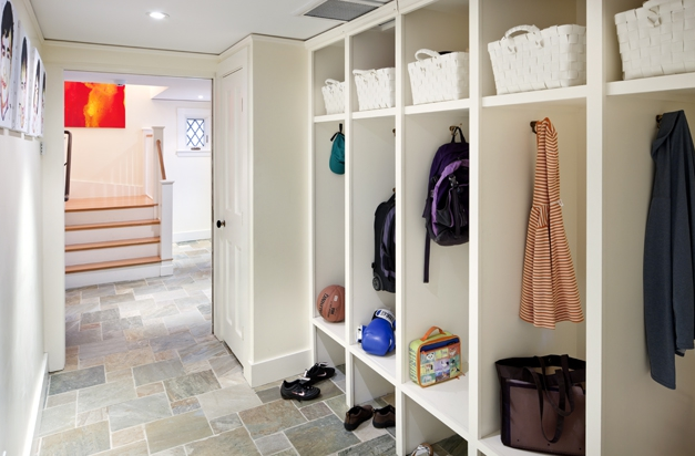 Mudroom with concrete floors transitional laundry room for Mudroom floors