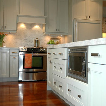 Painted KItchen Cabinets, Transitional, kitchen, Benjamin Moore Hazy Skies, Style de Vie Design