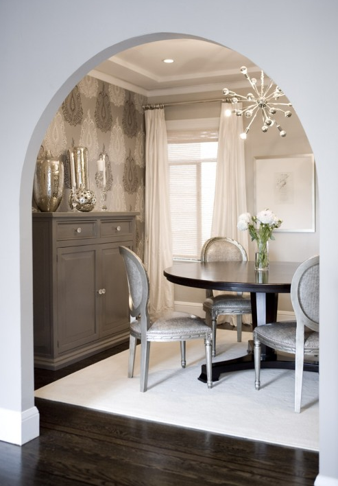 Lovely Elegant Gray Dining Room Design With Walls Paint Color Arched Doorway Tall Painted Buffet Chest Mercury Glass Vases Accents