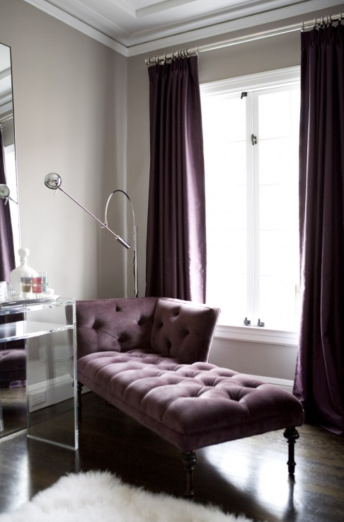 gray and purple dressing room design with gray walls paint color silk purple drapes velvet purple tufted chaise lounge crate u0026 barrel vista acrylic