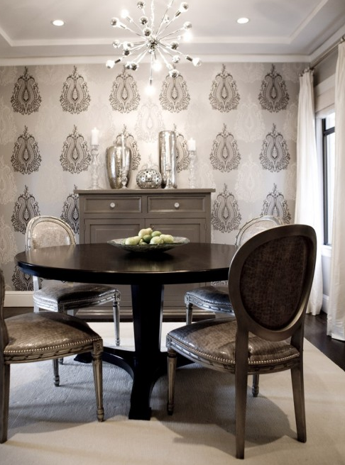Gray dining room transitional dining room amoroso design for Grey silver wallpaper living room