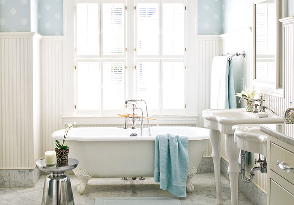 White Blue Cottage Bathroom Design With Blue Wallpaper Tall White Beadboard Claw Floot Tub White Pedestal Sinks White Bathroom Mirrors