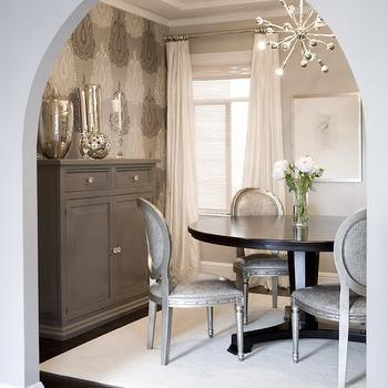 Gray Walls, Contemporary, dining room, Benjamin Moore Himalayan Trek, Amoroso Design