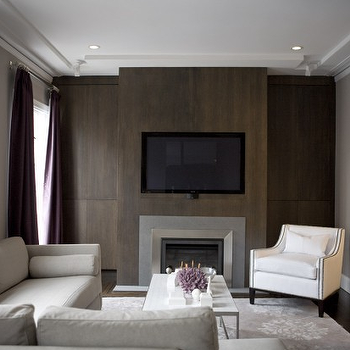 Wood Paneled Fireplace Contemporary Living Room Amoroso Design