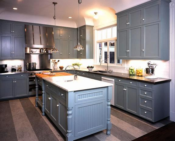 Bluish gray kitchen design with blue gray painted shaker kitchen cabinets  with black granite countertops, blue gray painted kitchen