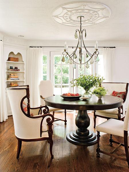 Pedestal dining table cottage dining room southern for Small living room with dining table ideas