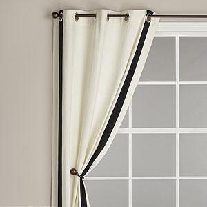 Ribbon Trim Panel With Grommet Top, Ivory With Black Trim   Curtains   Cost  Plus World Market
